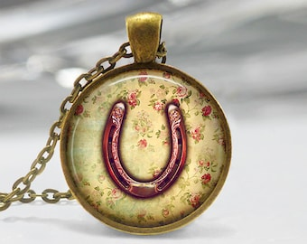 Horseshoe Pendant, Pink Horseshoe Art Pendant, Good Luck Horseshoe Necklace, Horseshoe Jewelry, Bronze, Silver, Good Luck Art Jewelry 233