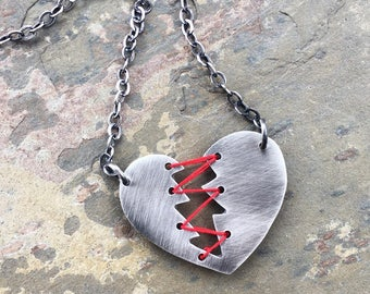 Mended Heart necklace. Sterling Silver and Thread. Heartbreaker Necklace. Broken Heart. Stitched Heart. Anti Valentine. Valentines day gift
