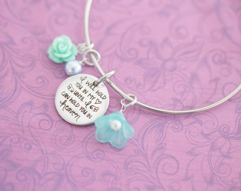 I Will Hold You in My Heart Until I Can Hold You in Heaven Bracelet with Flowers - Memorial Jewelry - Engraved Jewelry