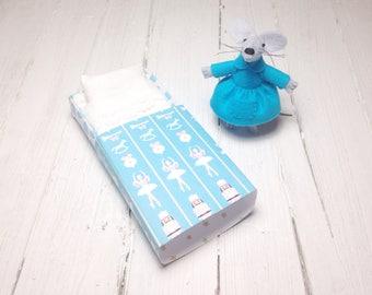 Nutcracker ballet ballerina mouse in matchbox felt animals blue stocking stuffer for girl stocking stuffer nephew gift plush doll