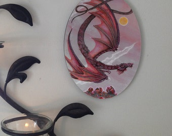 Garnet Dragon Oval Tile Wall Hanging