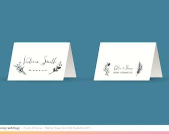 Seasonal Flora & Fauna Hand Drawn Place Name Cards, Spring, Summer, Autumn, Winter
