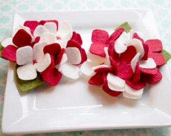 Wool Felt Flower Hydrangea in Peppermint Set of Two
