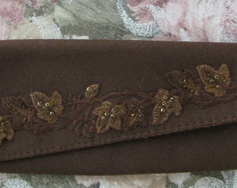 Brown Felt Wallet/Clutch