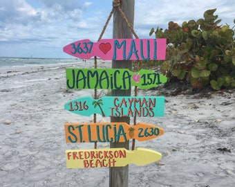 Personalized Beach Directional Sign, Mileage Sign, Beach Location Sign, Destination Sign, Vacation Sign, Travel Decor, Wanderlust Signs