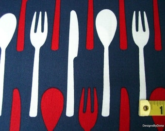 One Half Yard Cut Quilt Fabric, Red & White Spoons, Forks, Knives on Navy Blue from Timeless Treasures, Quilting-Sewing-Craft Supplies