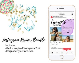 Boho Instagram Review Post Bundle - INSTANT DOWNLOAD - Watercolor