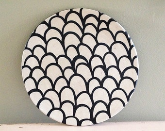 Ceramic plate nearly black deep blue and white organic design. Waves and lines.  sc 1 st  Etsy & Ceramic plate nearly black deep blue and white organic