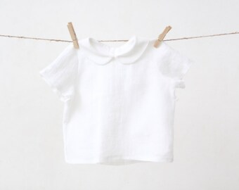 Baby Boy white shirt with Peter Pan collar Linen shirt Baptism shirt Wedding party clothes 1st Birthday outfit Baby clothes Family photo
