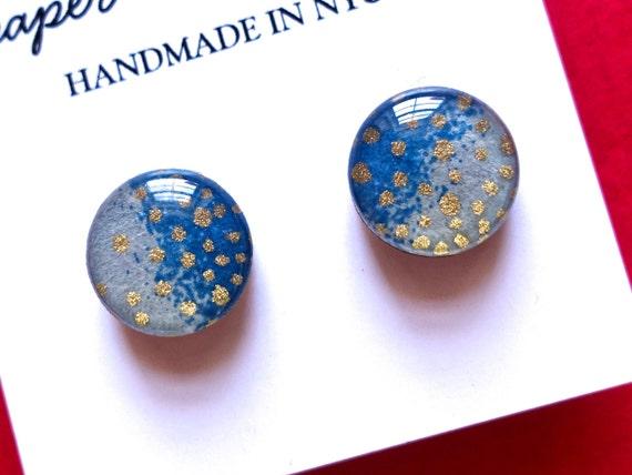 Ombre Stud Earrings, Studs, Blue Earrings, Gold Earrings, Japanese Paper Earrings, Chiyogami Earrings, Japanese Paper Jewelry, Lightweight