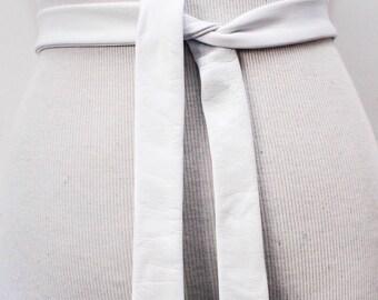 White Leather Wrap Belt | Leather White Tie Belt | White Tie belt | Thin Wrap Belt | Plus size Accessory | White Obi Belt | White Thin Belt