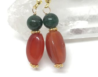 Carnelian and aventurine earrings, carnelian jewelry, aventurine jewelry, carmelian earrings, green earrings, orange earrings, luck