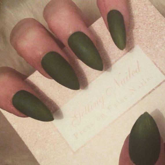 Matte khaki green nails, army green press on false nails **stick on ...