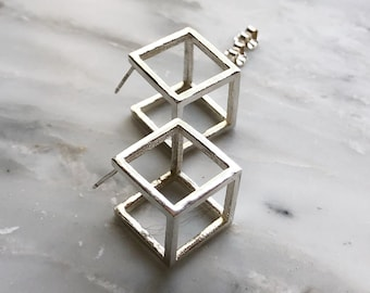 Sterling Silver Cube Earrings, Statement Stud Earrings, 3D Stud Earrings, Geometric Earrings, Large Contemporary Studs, Modern Studs, Cubes