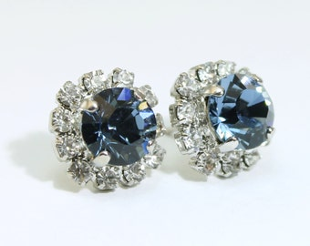 Navy Blue Stud Earrings Navy Swarovski Crystal Studs Navy Studs Post Navy Wedding Navy Bridesmaids Gift Clear Halo,Silver,Denim Blue, SE95