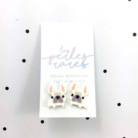 bulldog, white, dog, french bulldog, stud earring, print on plastic, shrink plastic earring, stainless stud, handmade, les perles rares