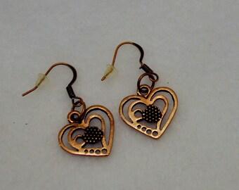 Heart Earrings Copper Look Metal Plain & Simple Slight Dangle