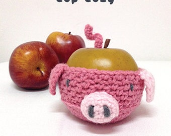 Crochet Pattern Piggy Fruit cozy Apple protector Pig Mug Sleeve Piggie Cup warmer Oink Mug holder Apple cozy Mug cozy Cup cozy (PB03-P-PAT)