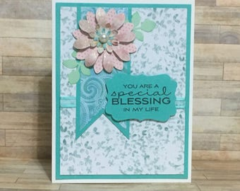 Greeting card, handmade card, friendship card, all occasion card, just because card, green.