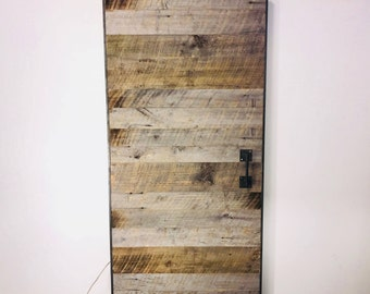 Reclaimed Barn Wood Door With Steel Frame and Hardware