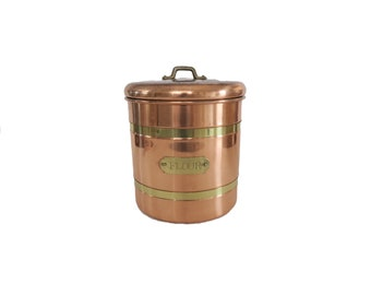 Vintage Copper and Brass Stainless Flour Canister Jar with Lid