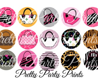 Instant Download Purse Diva 1 inch Round Circles for Bottle Caps, Hair Bows, Jewelry, Magnets and Scrapbooking