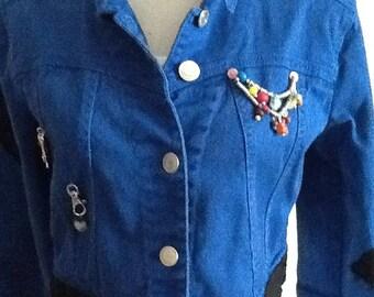 Unique, Blue Denim Jacket with skull design