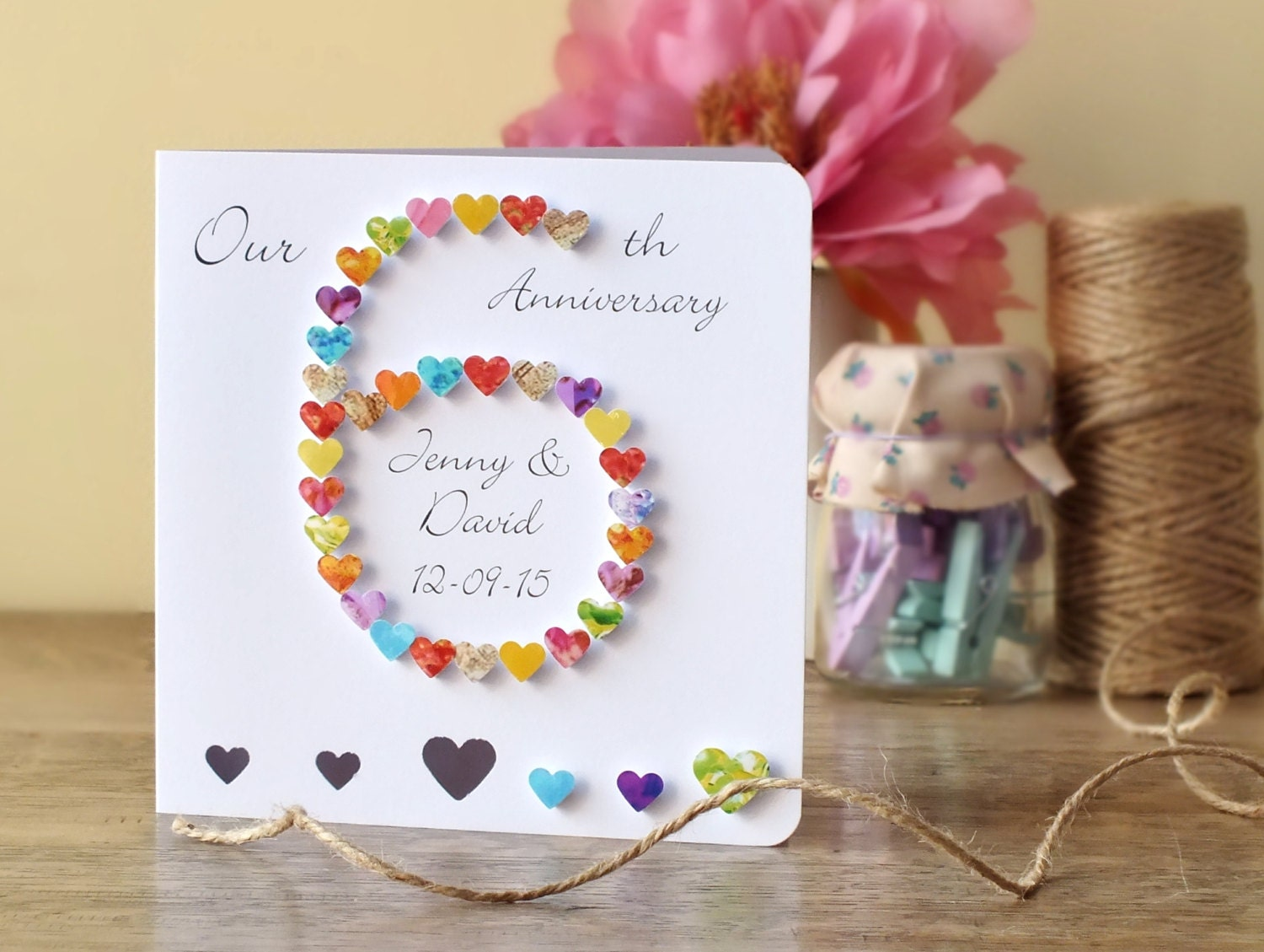 6th wedding anniversary card personalised custom 6th