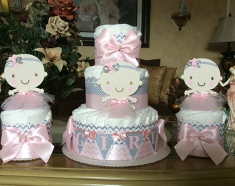 Baby girl diaper cakes set/Pink and grey diaper cakes/girl baby shower centerpieces/Elegant diaper cake/Elegant baby shower/Girl centerpiece