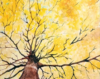 Autumn Tree Original Watercolor Painting Handmade Art Wall Decor