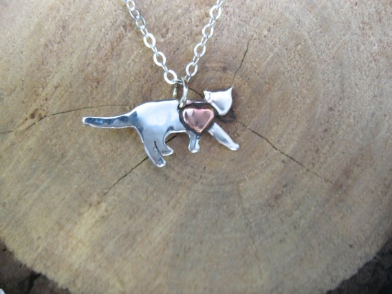 Mini Cat with Copper Heart Necklace-Cat Rescue-Cat Necklace-Vegan Necklace-Gift-Birthday-Anniversary-Cat Memorial-Cat Lover-Eco Friendly