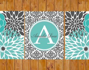 Printable Floral Flower Burst Turquoise Grey Nursery Damask Monogram Wall Baby Girl Decor Bedroom Family Name Decor 8x10 JPG Files (115)