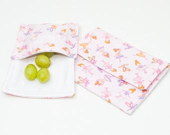 Reusable Snack Bag, Lunch Pack, Ballerina / Ballet kids design, Waterproof, Eco Friendly, Waste Free