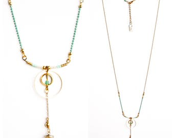 Glass ball necklace, turquoise and gold ring