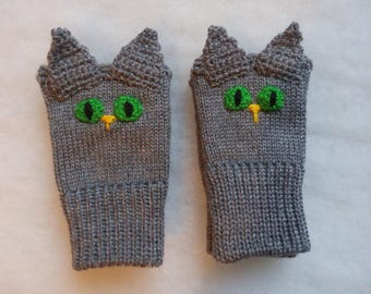Free Shipping - Grey Cats, Fingerless gloves,
