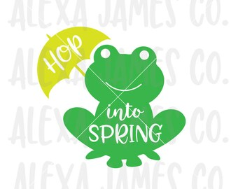 Frog svg, Hop into Spring SVG, SVG Cut File, Spring svg, Frog Rain Umbrella svg, Cricut Cut File, Silhouette, svg png pdf