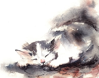 Cat Fine Art Print, sleeping kitten watercolor painting art, cat wall art, modern cat watercolor print