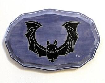 Bat Painting - Original Small Wall Art Acrylic Painting on Wood by Karen Watkins - 5x3 Inches - Bat Animal Home Decor