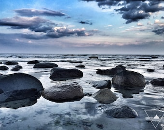 Floating Rocks - Sunset Reflections - Wells Beach, Maine - Photography