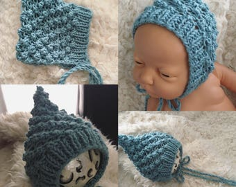 Newborn size knit pixie style bonnet,ready to ship,photo prop,gift,coming home,ready to ship