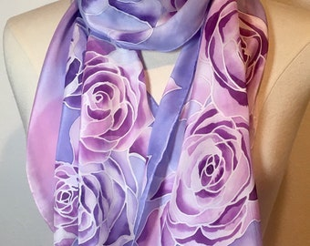Lavender Ribbon Roses, oblong hand painted silk crepe de chine scarf, pink and lilac pastel roses