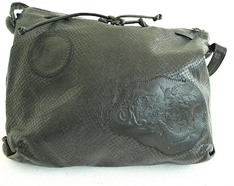 CARLOS FALCHI PURSE. Designer Python Bag. Black Vintage Leather Hobo Slouchy Handbag.