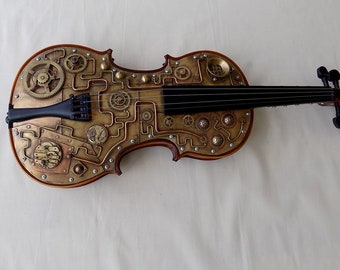 Steampunk violin.Violin sculpture .Violin.Steampunk sculpture. Mixed metal sculpture.