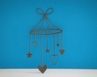 Cut baby mobile grey hearts and stars