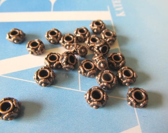 Wide Opening Copper Rondelles, Short pewter Tubes, 6mm Saucer Beads, 50 Pcs