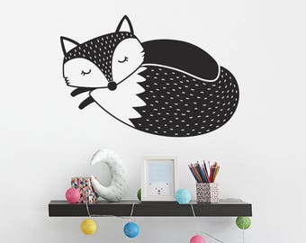Fox Wall Decal - Sleepy Fox Nursery Decal, Woodland Fox Wall Decal, Nursery Wall Sticker, Cute Fox Vinyl Wall Decal, Fox Decal