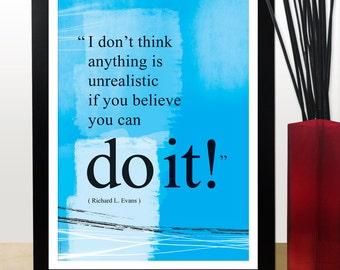 A4 You can do it quote poster. Positive thinking office wall decor. Inspirational poster. Typography design. Graduation gift (PO-A4-029)