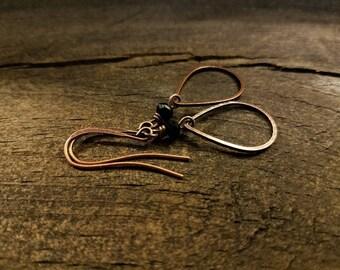 Copper Earrings, 1 3/4 inches, Boho Earrings, Teardrop Earrings