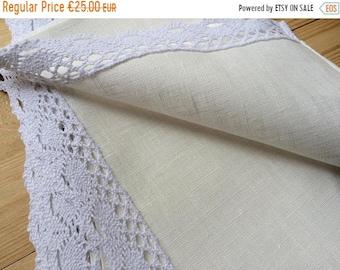 SALE Set of 6 Linen Placemats Ivory with White lace  - 17'' x 11'' - 43 cm x 28 cm