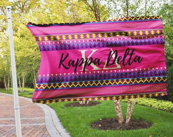 Kappa Delta flag, Hot pink Aztec print, 3 x 5 feet Polyester, Sorority gift, KD letters dorm decor Wall art Room decoration